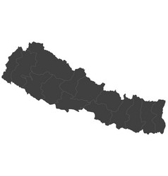 Map of nepal split into regions vector