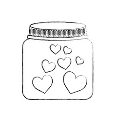 Mason jar with hearts isolated icon vector