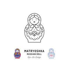 Matryoshka icon russian nesting doll thin line art vector