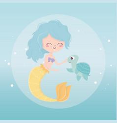 Mermaid and turtle bubbles cartoon under sea vector