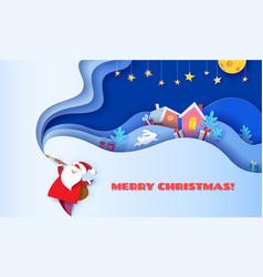 Merry christmas card 3d paper cut art vector