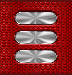 metal oval brushed plates on red perforated vector image