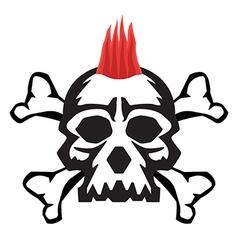 Mohawk skull hairstyle vector