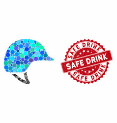Mosaic motorcycle helmet with grunge safe drink vector
