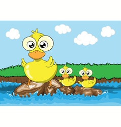 Mother duck and her ducklings cartoon vector image