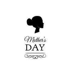 mother s day woman s silhouette ornate frame vector image