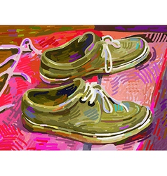 Original digital painting shoe on a carpet vector