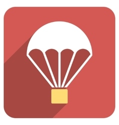 Parachute Flat Rounded Square Icon with Long vector