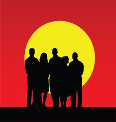 people silhouette in nature color vector image vector image