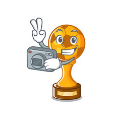Photographer soccer trophy in cartoon drawer vector