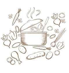 Preparing vegetable soup sketch design vector
