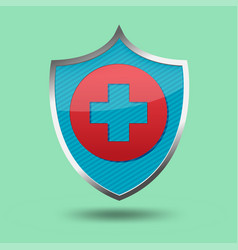 red cross shield symbol icon vector image
