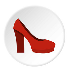 Red high heel shoes icon circle vector