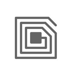 rfid chip line icon vector image