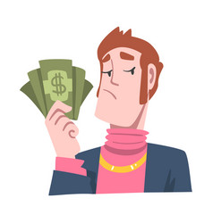 Rich and wealthy man character holding dollar vector