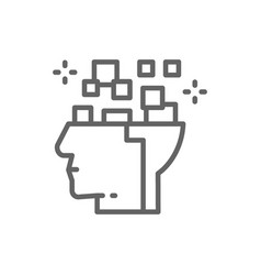 robot head brain connected to circuit board vector image