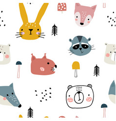 Semless woodland pattern with cute animal faces vector