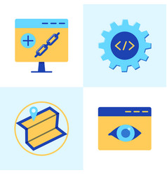 Seo services icon set in flat style vector