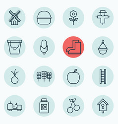 Set of 16 holticulture icons includes hanger vector