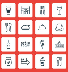Set of 16 meal icons includes hooch cutlery vector
