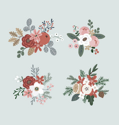 set of hand drawn winter bouquets made of vector image