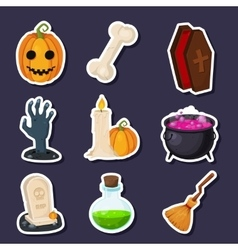 Set Of Happy Halloween flat icons with vector