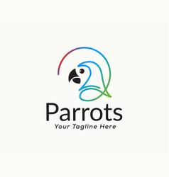 Single line art head parrot logo design vector