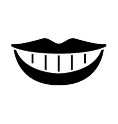 smile teeth mouth icon black vector image