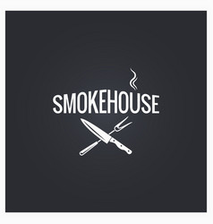 Smokehouse cooking logo design background vector