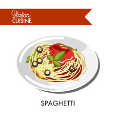spaghetti with red sauce olive rings and natural vector image