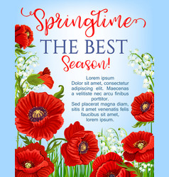Springtime season poster blooming flowers vector