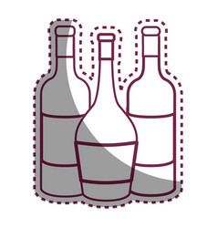 sticker line tasty wine bottles beverage icon vector image