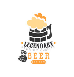 stylish logo design with mug of legendary beer vector image