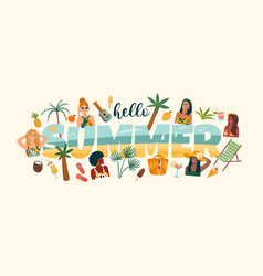 summer with cute women vector image