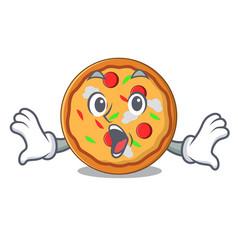 surprised pizza mascot cartoon style vector image
