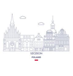 szczecin city skyline vector image
