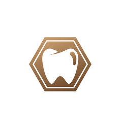 teeth care symbol in hexagon shape vector image
