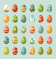 traditional painted easter eggs flat vector image