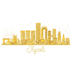 Tripoli libya city skyline golden silhouette vector