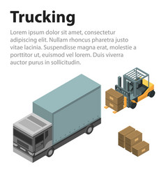 trucking loading concept background isometric vector image