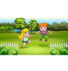 Two Caucasian kids dancing vector image