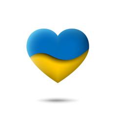 Ukraine flag icon in shape heart waving vector