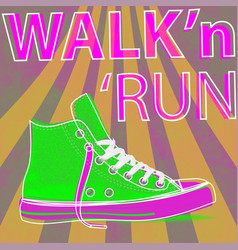 walk and run concept modern art sneakers youth vector image