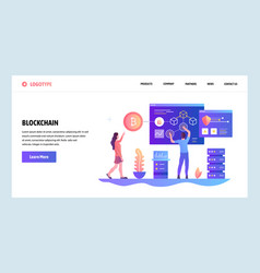 web site design template blockchain and vector image