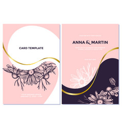 Wedding invitation card with pink chamomile vector