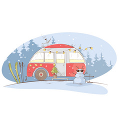 winter travel in a house on wheels vector image