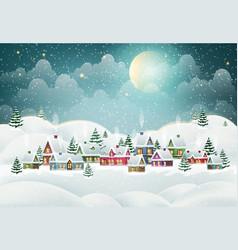 Winter village in pine forest vector