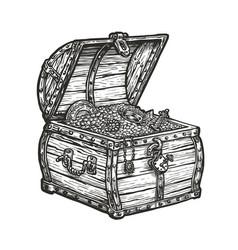 Wooden treasure chest wealth vintage sketch vector
