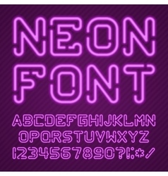 Alphabet neon purple vector image