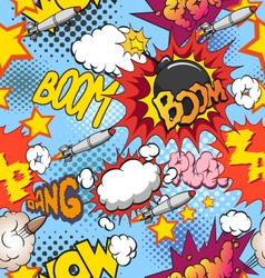 Comic book explosion seamless pattern vector image
